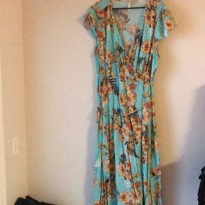Aqua floral print wrap maxi dress